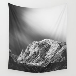 Misty clouds over the mountains in black and white Wall Tapestry