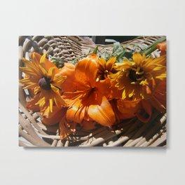 Basket of Summer Flowers Metal Print