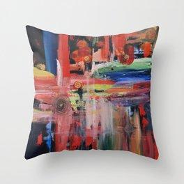 Abstract Orange Blue Throw Pillow