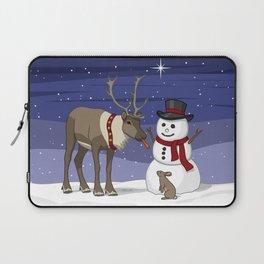 Santa's Reindeer Giving Snowman's Carrot Nose To Bunny Laptop Sleeve
