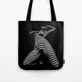 7068s-KMA Black White Nude Abstract Woman on Her Knees Zebra Styriped Tote Bag