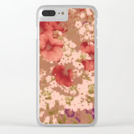 Red Petunias With Sweet White Flowers Clear iPhone Case
