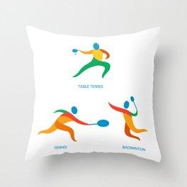 Table Tennis Badminton Icon Throw Pillow
