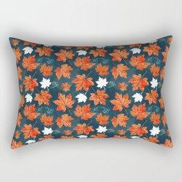 Autumn leaves against dark blue Rectangular Pillow