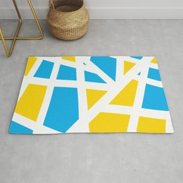 Abstract Interstate  Roadways Aqua Blue & Yellow Color Rug