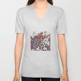 Japanese Inspired Lily Design Sketch Unisex V-Neck