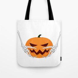 Skeleton and Pumpkin for halloween 2018 Tote Bag