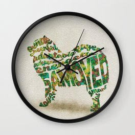 Samoyed Dog Typography Art / Watercolor Painting Wall Clock