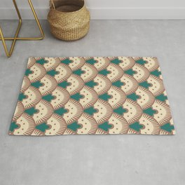 Fan Pattern Brown and Green 992 Rug