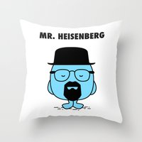 heisenberg Throw Pillows featuring Heisenberg by Krikoui