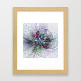 Colorful Fantasy Abstract Modern Fractal Flower Framed Art Print