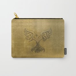Phoenix Bird Gold Embossed Carry-All Pouch