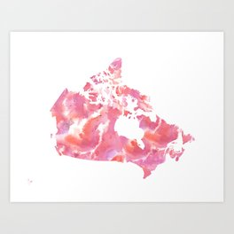 Pink Canada Watercolour Map Art Print