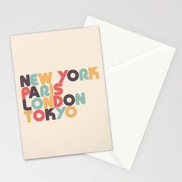 New York Paris London Tokyo Typography - Retro Rainbow Stationery Cards