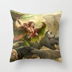 Green Angel Throw Pillow