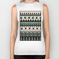 nordic Biker Tanks featuring PASTEL NORDIC TRIBAL  by Nika