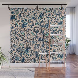 Teal Garden - floral doodle pattern in cream & navy blue Wall Mural