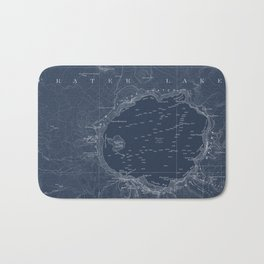 Crater Lake Blueprint Map Design Bath Mat
