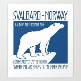 Svalbard Norway Arctic Polar Bear T-Shirt Longyearbyen Spitsbergen Northern Lights Art Print