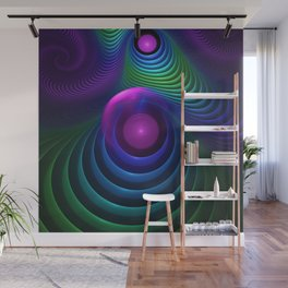 Beautiful Rainbow Marble Fractals in Hyperspace Wall Mural