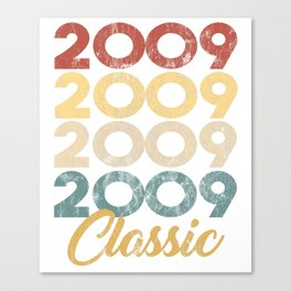 Vintage Classic 2009 Shirt 9th Birthday Party Celebration Gifts Canvas Print