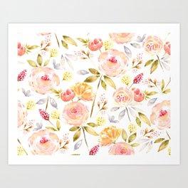 Acacia Vintage watercolored florals-White Art Print