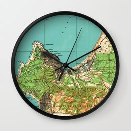 Vintage Map of Monterey California (1941) Wall Clock