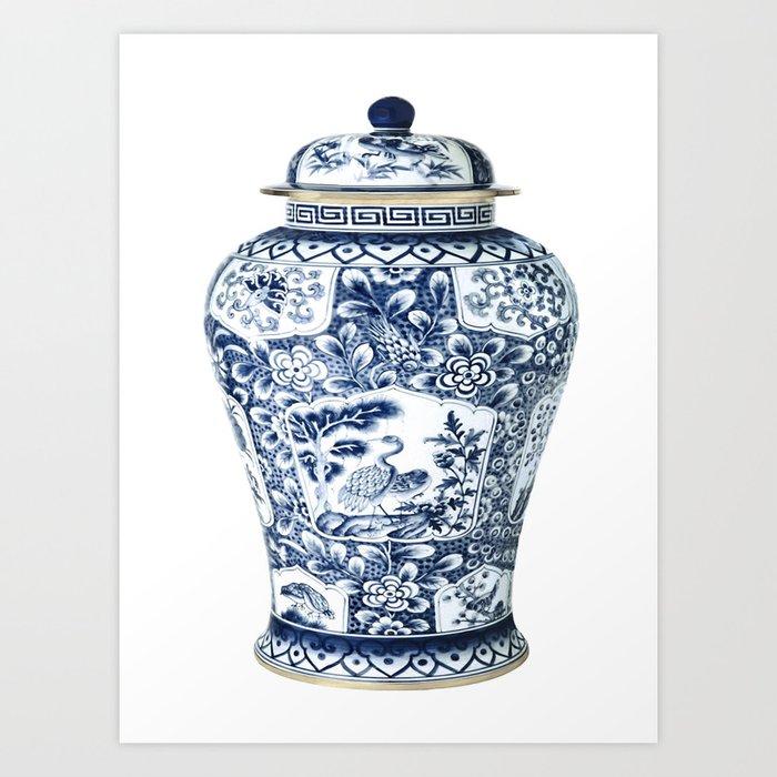 Blue & White Chinoiserie Cranes Porcelain Ginger Jar Kunstdrucke