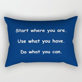 Start where you are - Arthur Ashe - navy blue print Rectangular Pillow