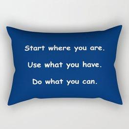 Start where you are - Arthur Ashe - navy blue print Rectangular Pillow