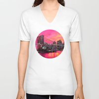 manhattan V-neck T-shirts featuring Manhattan Skyline by zAcheR-fineT
