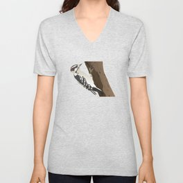 Downy Woodpecker Bird Unisex V-Neck