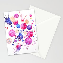 Colored watercolor circle composition. Stationery Cards