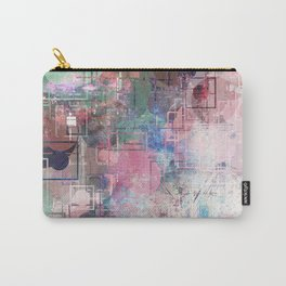 Distressed Pastel Geometric Pattern Carry-All Pouch