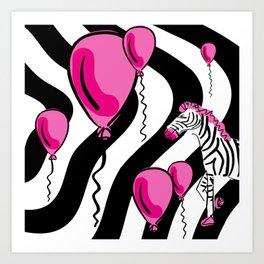 Little Pink Zebra's Dream Balloons Art Print