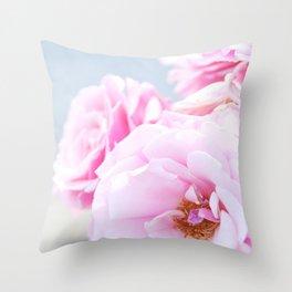 Blushing Roses Throw Pillow