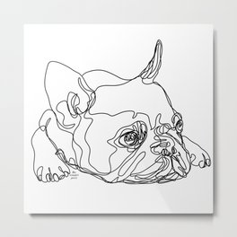 French Bulldog Puppy One Line Drawing Metal Print