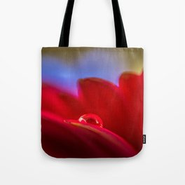 Simply Put water droplet on a Gerber Daisy Tote Bag