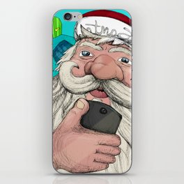 #santa#selfie iPhone Skin