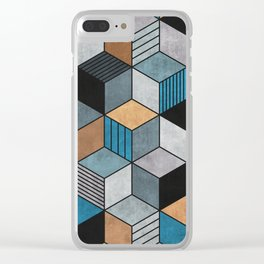 Colorful cubes - blue, grey, brown Clear iPhone Case