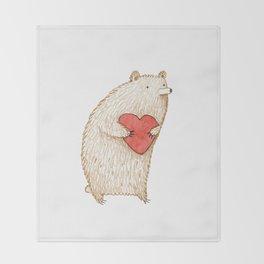 Bear with Heart Throw Blanket