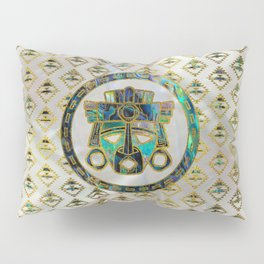 Tribal Ethnic  Mask Gold on Abalone Shell and Pearl Pillow Sham