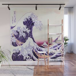 The Great wave purple fuchsia Wall Mural