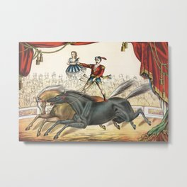 The Two Horse Act - Vintage Circus Art, 1873 Metal Print