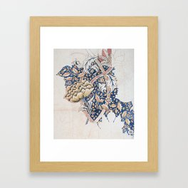 Design for Windrush by William Morris 1883 // Romanticism Blue Red Yellow Color Filled Floral Design Framed Art Print