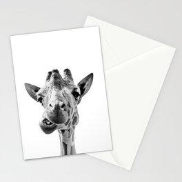 Giraffe Portrait Black and White Stationery Cards