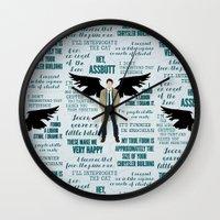 castiel Wall Clocks featuring Castiel by Dorothy Leigh