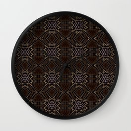 Shapes of stars and snowflakes with dark gold and bronze tones Wall Clock