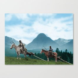 Waiting For The Hunters - Blackfoot Indian Women Canvas Print