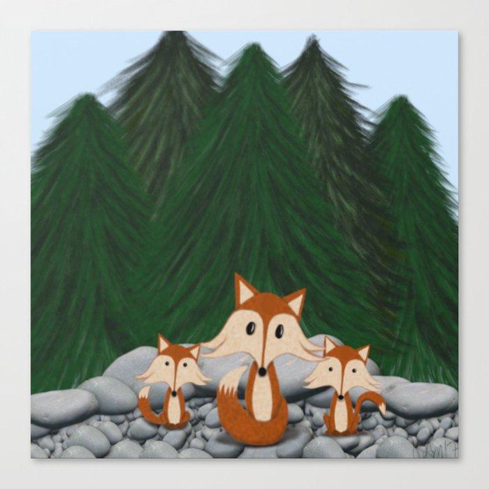 The Fox Family Canvas Print